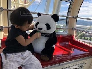 観覧車の中でパンダと戯れる子どもの写真・画像素材[2735090]