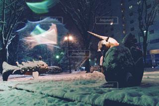 雪の夜の公園と、たたずむ像の写真・画像素材[1026021]