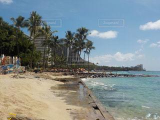 水の体の横にある砂浜のビーチの写真・画像素材[1028488]