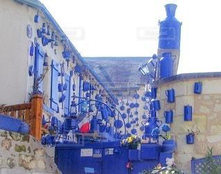 青い建物のクローズアップの写真・画像素材[3594605]