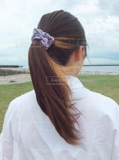 髪のクローズアップの写真・画像素材[4602603]