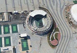 テニスコートの空撮の写真・画像素材[1037687]