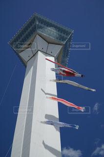 空を飛んでいる飛行機の写真・画像素材[1042897]