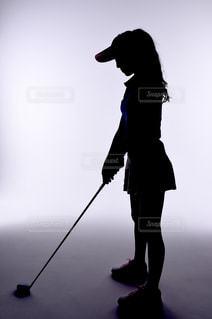 ゴルフのシルエットの写真・画像素材[1049131]