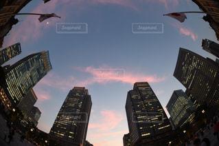 都市上空を飛ぶ鳥の群れの写真・画像素材[1263914]