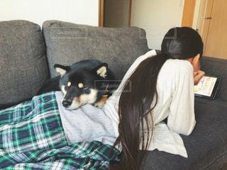 ソファに寝転ぶ仲良し二人組の写真・画像素材[1287085]