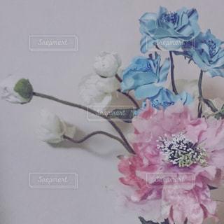 水色とピンクの造花の写真・画像素材[1037315]