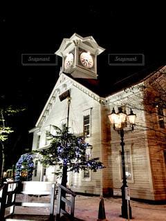 夜の札幌時計台の写真・画像素材[1041194]