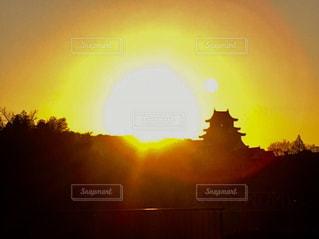 朝の岡山城の写真・画像素材[1037233]