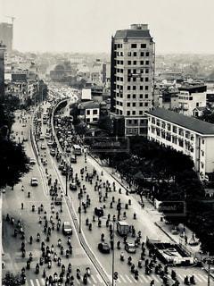 monochrome of Hanoi's morning.の写真・画像素材[1037845]
