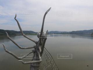 湖の水面にあるウスバカゲロウのオブジェの写真・画像素材[1051445]