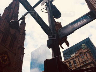 ウォール街の標識の写真・画像素材[1042952]
