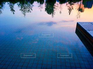 池にうつる夕暮れの空の写真・画像素材[1168695]
