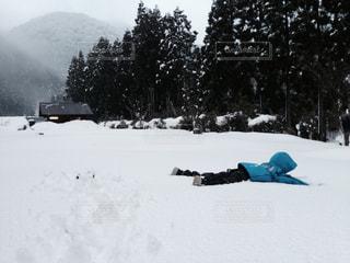 雪にダイブする子供の写真・画像素材[1044522]