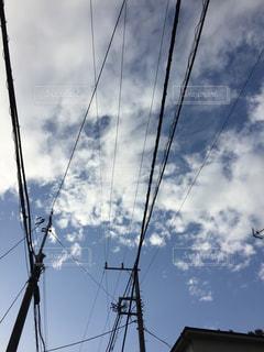 電線と青空の写真・画像素材[1048702]