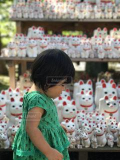 招き猫に囲まれた女の子の写真・画像素材[1050525]