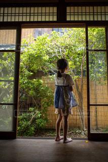縁側に立っている少女の後ろ姿の写真・画像素材[2282497]