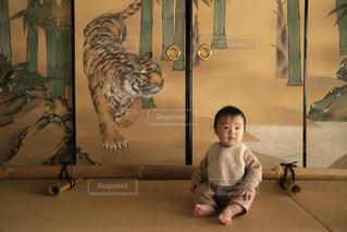 虎の間に座る赤ちゃんの写真・画像素材[2842114]
