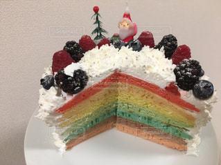 皿の上のケーキの一部の写真・画像素材[1054009]