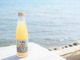 ビーチで水のボトルの写真・画像素材[1537989]