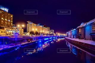 青の運河 小樽運河の夜景 No.4の写真・画像素材[1134606]