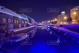 青の運河 小樽運河の夜景 No.5の写真・画像素材[1134607]
