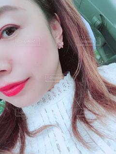 クローズ アップ撮影、selfie ピンクの髪を持つ女性の - No.1066922