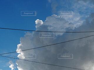電線と雲の写真・画像素材[3783320]
