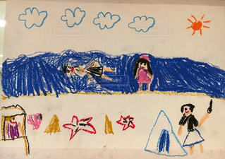 保育園児が描いた絵の写真・画像素材[1064361]