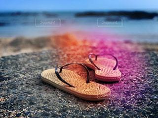 砂浜のクローズアップの写真・画像素材[2436680]