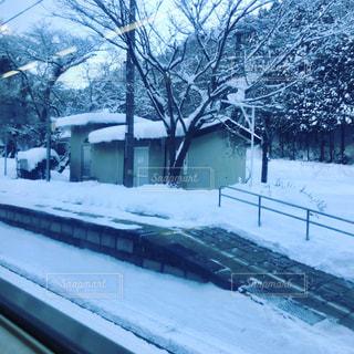 雪に覆われた鉄道の写真・画像素材[1066140]