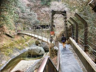 山の中の橋を渡る人の写真・画像素材[1086241]