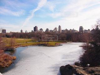 セントラルパークの凍った池の写真・画像素材[1128586]