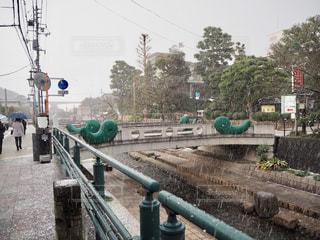 玉造温泉の勾玉がトレードマークの橋の写真・画像素材[1801696]