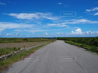 最南端の碑に行く途中の、海の見える道の写真・画像素材[2387408]