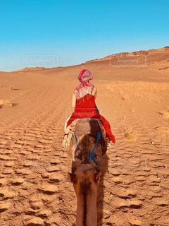 砂漠でラクダに乗る女性の写真・画像素材[2436265]