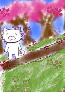 お花見をする犬の写真・画像素材[1119477]
