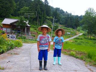 草の中に立っている小さな男の子の写真・画像素材[1805553]