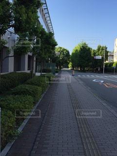 道の端にサインの写真・画像素材[1099998]