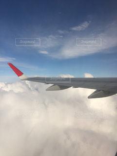 曇りの日に空を飛んでいる飛行機の写真・画像素材[1100085]