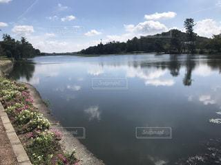 水の体に囲まれた湖の景色の写真・画像素材[1457833]