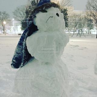 3段重ねの雪だるまの写真・画像素材[1102499]