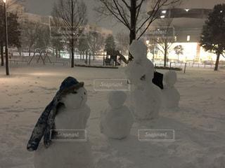 並ぶ雪だるまの写真・画像素材[1103397]