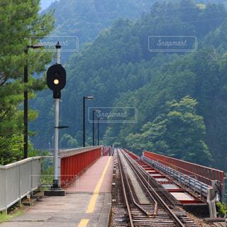 大井川鐵道の奥大井湖上駅です。の写真・画像素材[1330363]