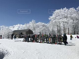 北アルプスと霧氷の写真・画像素材[1103367]