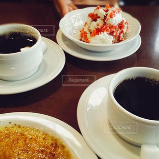 クローズ アップ食べ物の皿とコーヒー カップ - No.1134376