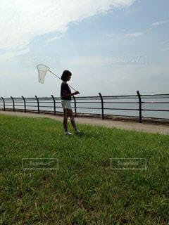 草の中に立っている間凧の飛行男の写真・画像素材[1110441]