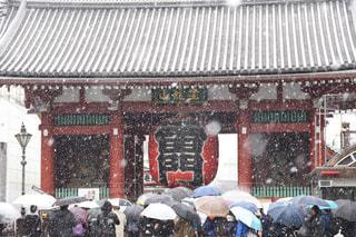 雪の浅草寺の写真・画像素材[1111202]