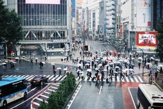 雨の日の渋谷の写真・画像素材[1111267]