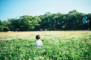 シャボン玉と子供の写真・画像素材[1284788]